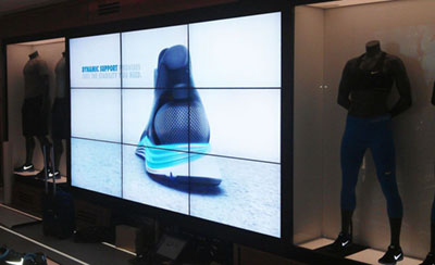 digital signage screens video wall nike retail store