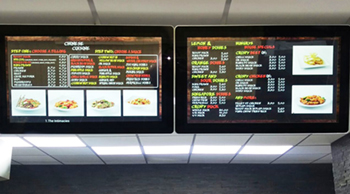 digital signage screen fast food