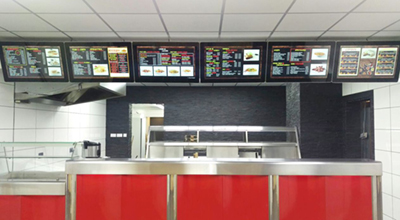 digital signage screen network fast food