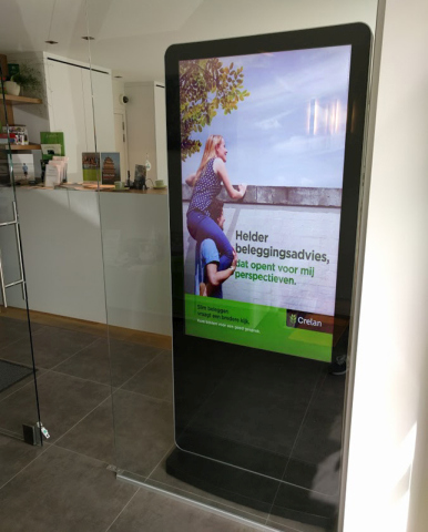 digital signage screen store window display white