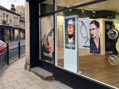 digital signage screen white window shop retail