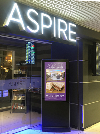 digital signage screen airport lounge