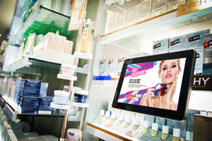 digital signage screen pos beauty shop